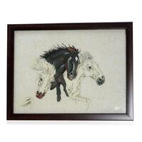 Handmade Artwork Gemstone Trio Horses Painting (13x10 in) Framed