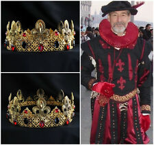 Gold Mens Imperial Medieval Gold Rhinestone King Crown Men's Crown