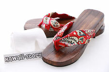 K-G-06 red heart Geta Japanese Wood Sandal Tabi Socks Kimono Geisha 9 5/8in/