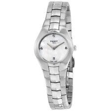 Tissot T-Round White Diamond Dial Stainless Steel Ladies Watch T0960091111600