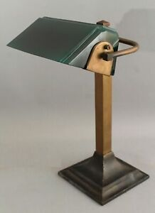 Antique Greenalite Arts & Crafts Brass Desk Bankers Lamp Cased Green Glass Shade