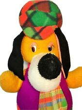 Vintage Huckleberry Hound Dog JUMBO Hippie Stuffed Animal Plaid Purple Orange