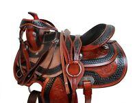 DEEP SEAT WESTERN HORSE SADDLE 17 16 15 BARREL RACING PLEASURE TOOLED TACK SET