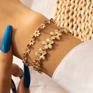 Gold doulble layered chain flower rhinestone lobster clasp fashion bracelet