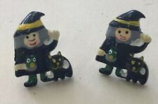 Vintage Halloween Holiday Costume Plastic Witch & Black Cat Earrings Vk10