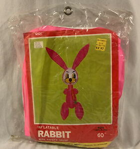 """Vtg Inflatable Rabbit with Carrot Kmart 60"""" Pink"""