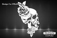 Airbrush Schablone Skull n Roses - Totenkopf und Rosen