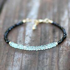 Natural Blue Topaz Black Spinel Bracelet 14k Gold Filled 4th 22nd Anniversary