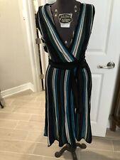Diane von Furstenberg DVF wrap dress Size Small CADENZA Metallic Knit Green Blue