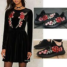 2 xFashion Embroidery Red Rose Flower Sew Iron Badge Clothes Fabric·Applique.UK