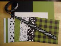 Stampin Up MERRY LITTLE CHRISTMAS Designer Paper Card Kit Ribbon RARE