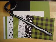 Stampin Up MERRY LITTLE CHRISTMAS Designer Paper Card Kit Ribbon HTF