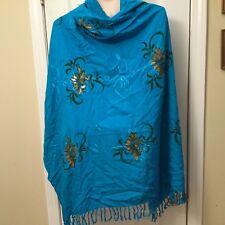 Bohemian Hand Painted Embroidered Turquoise Blue Shawl Wrap Art to Wear