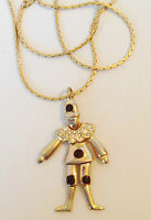 collier pendentif rétro couleur or pendentif arlequin jambe mobile cristaux 255
