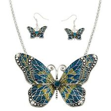 """Butterfly Necklace Set 4"""" Large Pendant Chain Swirl SILVER Painted Blue Jewelry"""