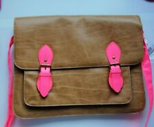 Brown and Pink Oxford School Bag satchel with over the shoulder strap