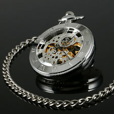 Mens Pocket Watch Mechanical Silver Open Face Hand-winding Classic Chain Luxury