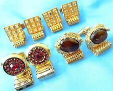 Vintage 4 Pair  Rhinestone Tiger eye stones   Cufflinks Gold Tone Signed Lisa