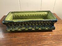 Vintage MCM Retro NAPCOWARE Ceramic Rectangular Planter Blue/Lime Green 4x9x2.5