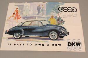 AUTO UNION DKW 900 Falt Prospekt in Englisch /  Program in English (1026)