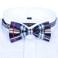 Men Satin Bow Tie Dickie Pre-Tied Wedding Tuxedo Tie Necktie Blue Pink Tartan GH