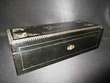 ancienne boîte à gants en bois et marqueterie de laiton Napoléon III XIX ème