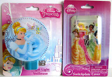 NEW Disney Cinderella and Princess Night Light & Switch Plate Cover Set