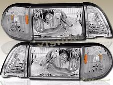 87-93 Ford Mustang LX GT Crystal Clear Headlights with Corner and Parking Lights