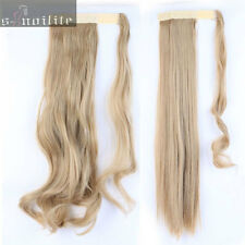 100% Thick Clip In Ponytail Hair Extensions Straight Curly Wavy Wrap Pony Tail