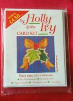 Embroidery Cross Stitch colourful CARD KIT Holly IVY threads, needle, fabric UK