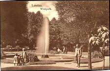 Landau in der Pfalz s/w ~1910 Partie im Westpark Fontäne Brunnen Kinder Personen