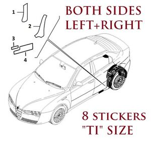 A set of 8 ALFA ROMEO 159 TI Stonechip Protective Stickers FULL BOTH REAR SIDES