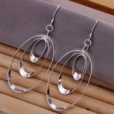 Plated 3 Hoop Dangle Drop Earrings New Women Fashion Jewelry 925 Sterling Silver