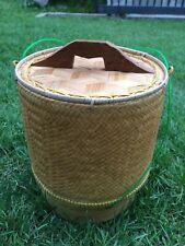 "Kratip Thai Handicraft Sticky Rice Bamboo Basket Box container 7"" #1"
