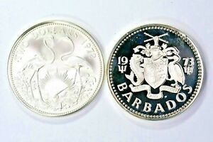 Lot of two Silver 1972 $2 Dollars Bahamas & 1973 5$ Dollar Barbados Proof 99c NR