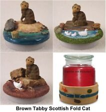 Brown Scottish Fold Cat ~ BEACH, LAKE, FARM CANDLE TOPPER &/or Candle Holder
