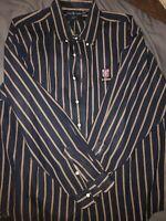 Vintage Polo Ralph Lauren BLAIRE Striped Button Down Shirt Mens 2XL With Crest