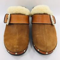 Michael Kors Clog Wooden Suede Leather Buckle Tan/Brown Womens Shoes Size 7.5 M