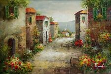 Tuscany Italy Landscape - 3, Quality Hand Painted Oil Painting, 24x36in