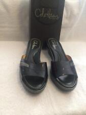 Women's Cole Haan LAETITIA Black Patent Slide Wedge Sandals Size 7 EUC