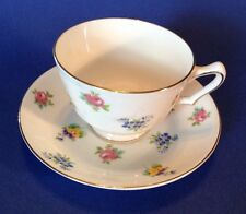 Crown Staffordshire Tea Cup And Saucer - Chintz Roses Pansies And Forget-Me-Nots