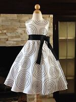 Black/White Taffeta A-Line Pageant Wedding Flower Girl Dress Gown 3/4 5/6 7/8