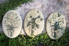 "3 flower plaque molds plaster rapid set cement all molds  9"" x 6"" x 1/3""  each"