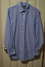 Mens CROFT&BARROW L/S Classic Fit Dress Shirt, 15 (32/33), Blu+whi Striped, GUC