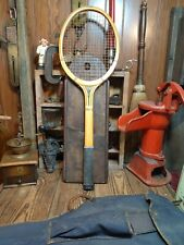 New listing Antique Vintage Wood Defender Tennis Racket Racquet with Canvas bag