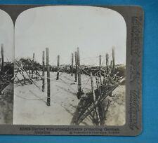 WW1 Stereoview Photo Barbed Wire Protecting German Trenches Underwood