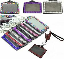 LANYARD AND ID BADGE HOLDER 13 COLOURS RHINESTONE FOR PHOTO ID CARDS CRYSTAL 7f3113b0da