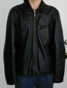 Wilsons Leather Jacket - Mens Size LT - Large & Tall - Black Motorcycle Style