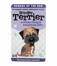 Beware of the Border Terrier Funny Metal Wall Sign Plaque Dog Lovers Gift