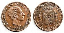 España-Alfonso XII. 5 Centimos 1877. Barcelona. EBC-/XF-. Cobre 5,2 g. Bella